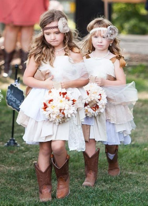 rustic flower girl dresses with cowboy boots / http://www.deerpearlflowers.com/autumn-fall-wedding-ideas/