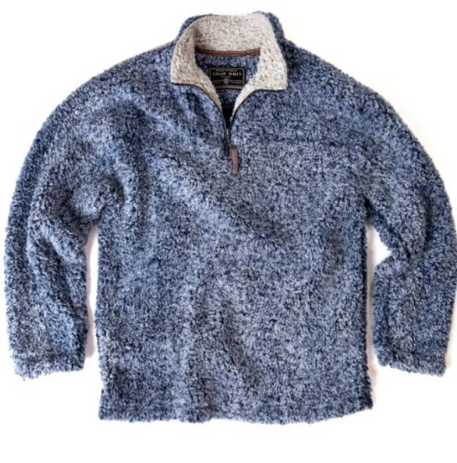 TRUE GRIT  FROSTY TIPPED PILE  1/4 ZIP PULLOVER- VINTAGE BLUE from The Shirt Shop
