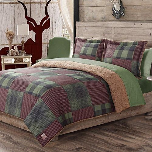 Rich Multicolor Houndstooth Plaid Twin Comforter Set Accented Black Hunter Green