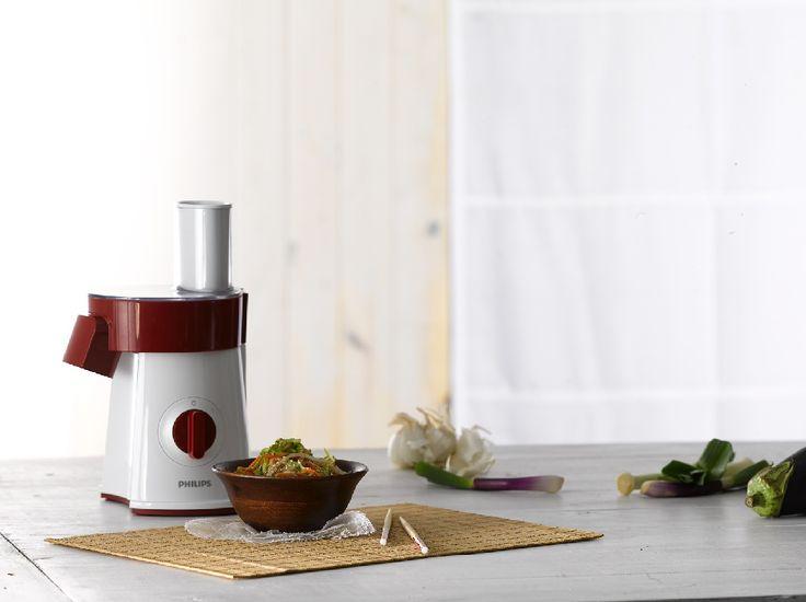 Con la Philips Salad Maker, podés procesar todos sus ingredientes favoritos. Desde verduras y queso hasta papas y carne.