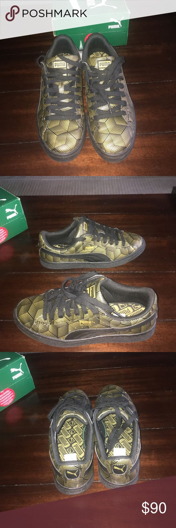 Black and gold metallic Puma's Size 7.5 in women's size:5.5 in men's comes with original box worn once very comfortable Puma Shoes Sneakers
