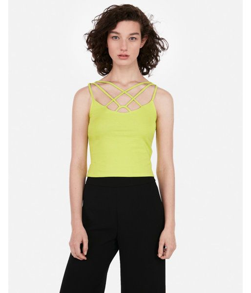 e28c4514653b8 Express Womens Express One Eleven Strappy Front Cropped Cami Green Women s  L Green L