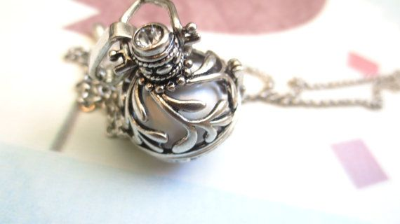 Silver Maternity Necklace Angel Caller Bola Pregnancy Necklace