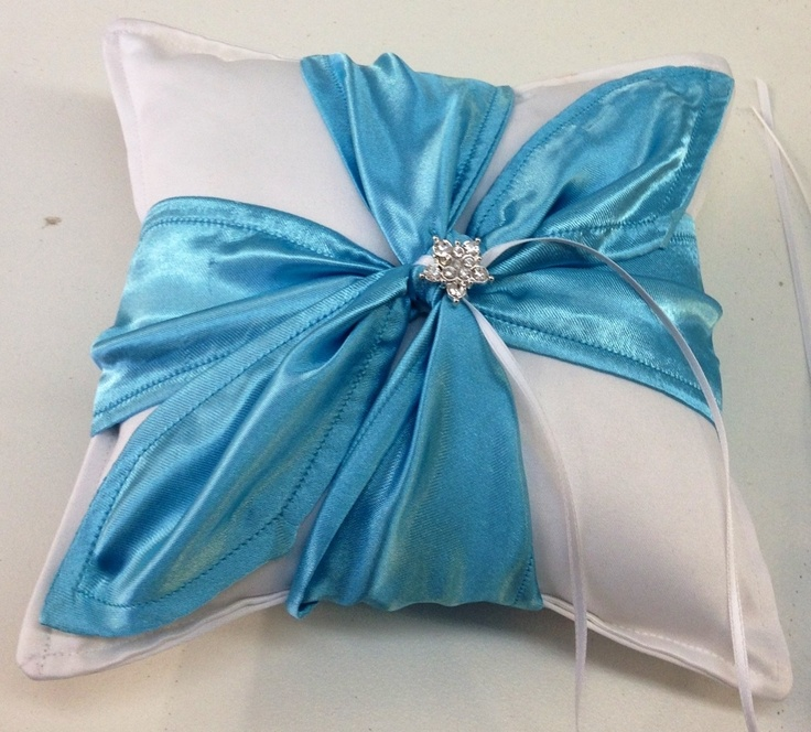 Bling ring pillow in whte and ice blue   Please visit my site http://satinfinish.weebly.com/ring-pillows.html to purchase
