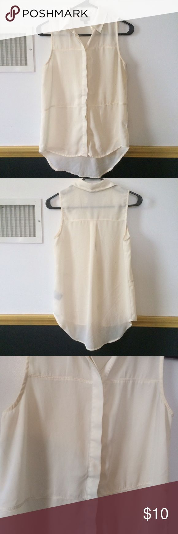 Sheer paneled sleeveless blouse Cream sheer paneled sleeveless blouse. A staple piece that every closet needs! Easily dresses up or down Tops Button Down Shirts