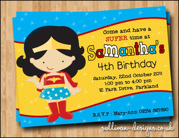 Wonder Woman Party Invitation - DIY PRINTABLE Digital Invitation