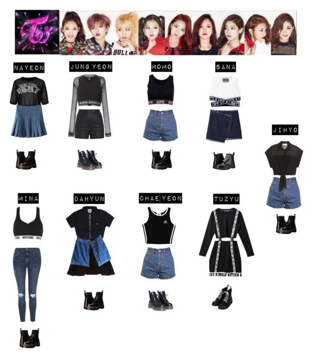 """""""TWICE - TOUCHDOWN❤"""" by mabel-2310 on Polyvore featuring DKNY, FAUSTO PUGLISI, KKXX, Dr. Martens, Pierre Balmain, Les Animaux, Moschino, Nasir Mazhar, adidas and Topshop"""