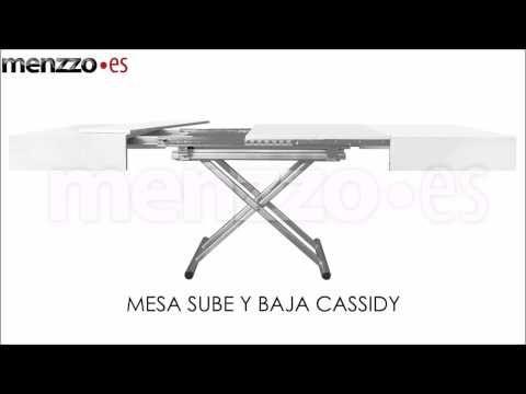 Mesa de salon o comedor, extensible y elevable, madera lacada blanca