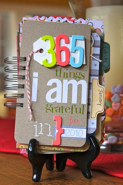 Cute Idea....    From Etsy Created with the everyday, normal ordinary moments of life in mind, this Gratitude mini album journal will be a delightful way to chronicle your 2012 or a variety of other happenings that are equally document worthy