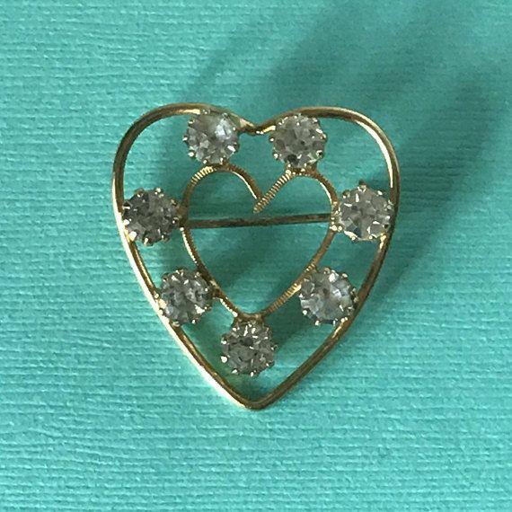 51d0699913990 Vintage rhinestone heart pin, heart brooch, gold heart pin, hearts ...