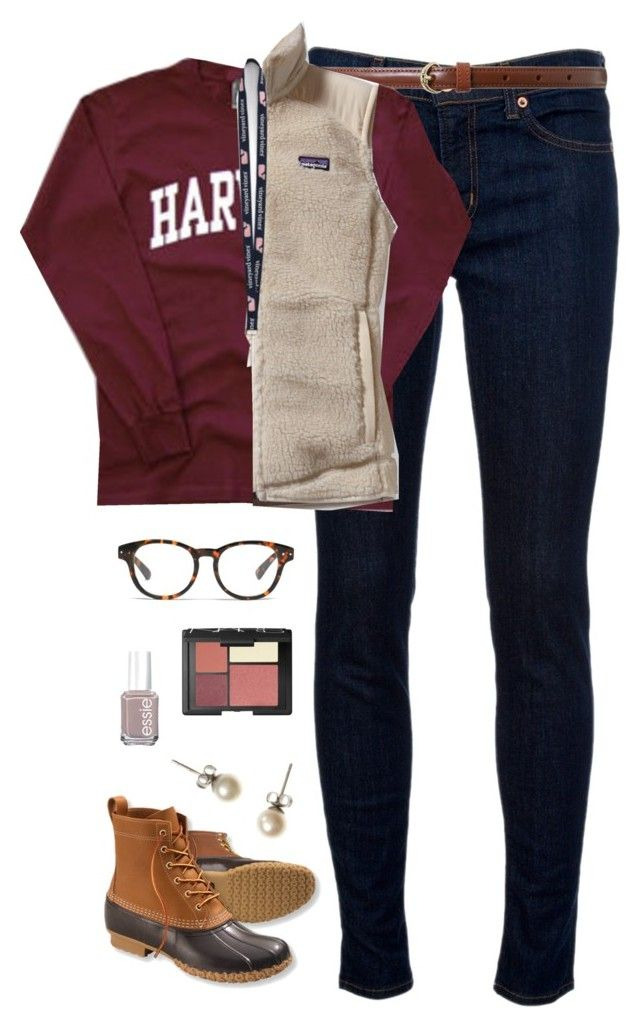 OOTD- school by classically-preppy on Polyvore featuring polyvore, fashion, style, Patagonia, J Brand, L.L.Bean, J.Crew, Vineyard Vines, Lauren Ralph Lauren, Madewell, NARS Cosmetics and Essie