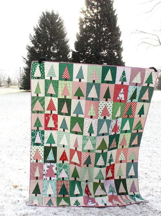 Improv Patchwork Trees Quilt - link to FREE Tutorial