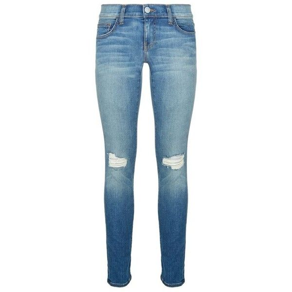 Rebecca Minkoff Jane Distressed Skinny Jeans ($185) ❤ liked on Polyvore featuring jeans, pants, bottoms, low rise skinny jeans, blue skinny jeans, destroyed jeans, denim skinny jeans and stretch jeans
