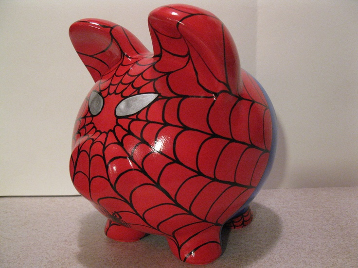 Spiderpig Piggy Bank - Inspired by Spiderman - (Unofficial) - Personalized and MADE TO ORDER. $42.00, via Etsy.