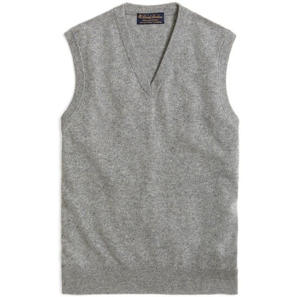 Brooks Brothers Cashmere Sweater Vest (270 CAD) ❤ liked on Polyvore featuring men's fashion, men's clothing, men's outerwear, men's vests, tops, heather grey, mens sweater vest and mens cashmere sweater vest