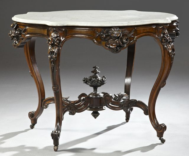 Carved Rosewood Marble Top Table, C. 1860