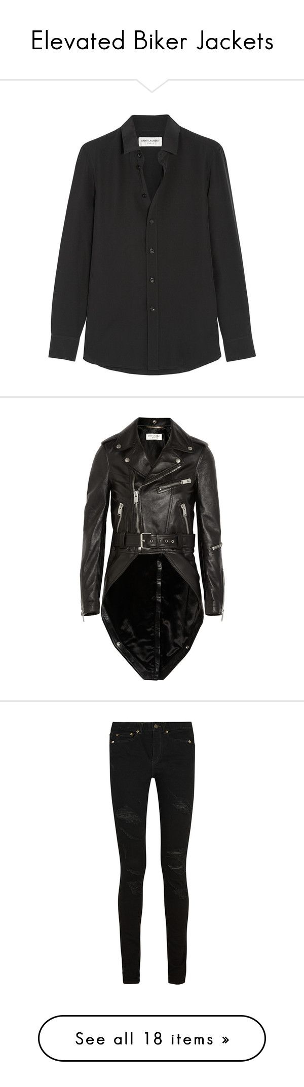 """Elevated Biker Jackets"" by netaporter ❤ liked on Polyvore featuring tops, shirts, blouses, pitkähihat, saint laurent, black, yves saint laurent shirt, shiny shirt, black shirt and silk shirt"
