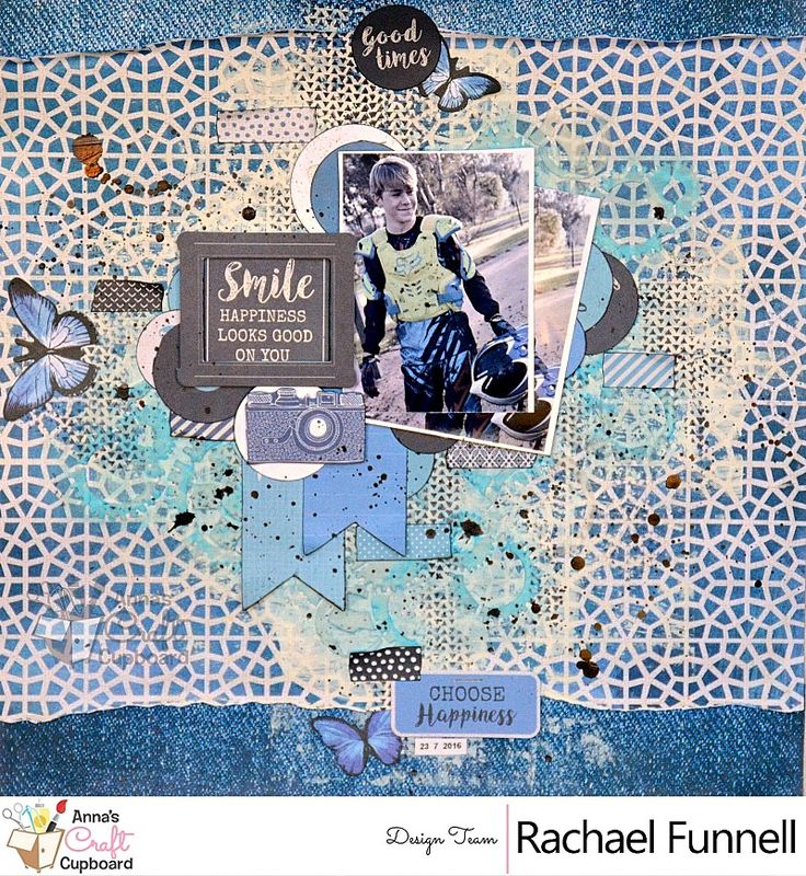 Another Rachael Funnell  April DT work using Kaisercraft Indigo Skies....  The Blues tones, with black & white makes it really easy to create any type of project with this collection!  Today we share the first of her creative projects, a layout titled 'Smile'.   #scrapbooking #scrapbookinglayout #ilovescrapbooking #papercraft #papercrafting #papercraftingsupplies #scrapbookingsupplies #kaisercraft #indigoskies #mixedmedia