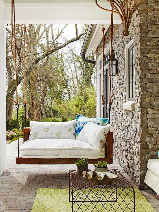 Extra+pillows,+overstuffed+cushions,+task+lights:+All+these+elements+help+to+maximize+enjoyment+and+use+of+a+porch.+Don't+forget+to+place+a+table+close+by+as+a+surface+to+hold+glasses+and+books.