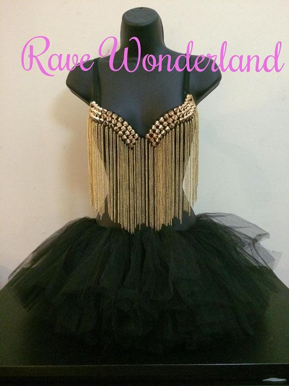 Women's Gold Rave Punk Metallic Studs Rivet Chain Tassels Bra + Tutu Full Outfit on Etsy, $35.99