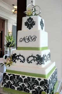wedding cakes <3Colors Combos, White Wedding, Monograms Fonts, Black And White, Green, Cake Ideas, Black White, Wedding Cakes, Damasks Wedding