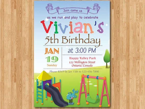 Playground Birthday Invitation. Kids Park Birthday Party Invite. Girl or Boy. Chevron. First 2th 3th 4th 5th 6th any age. Printable Digital. on Etsy, $10.00