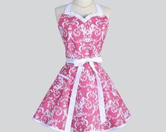 Vestido delantal Retro - rosa fucsia y blanco Damasco Womens Vintage estilo completa azafata o regalo nupcial de la boda para personalizar o monograma