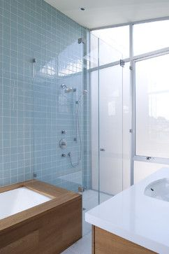 Should have done this in the kids bath with all tile on the toilet sink wall.  Ann Sacks Glass tile.