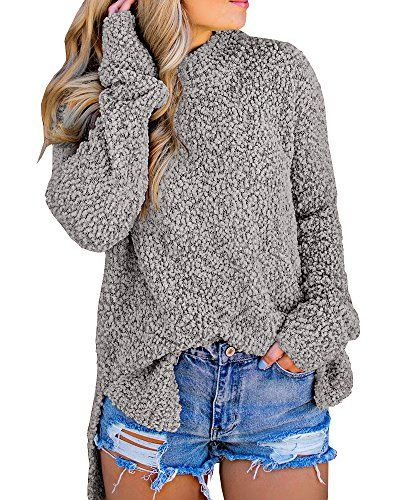 33b48d2d8e0d75 The perfect Dellytop Dellytop Womens Sweaters Fuzzy Long Sleeve Loose High  Low Fleece Knit Sweatshirts Pullovers Women s Fashion Clothing online.