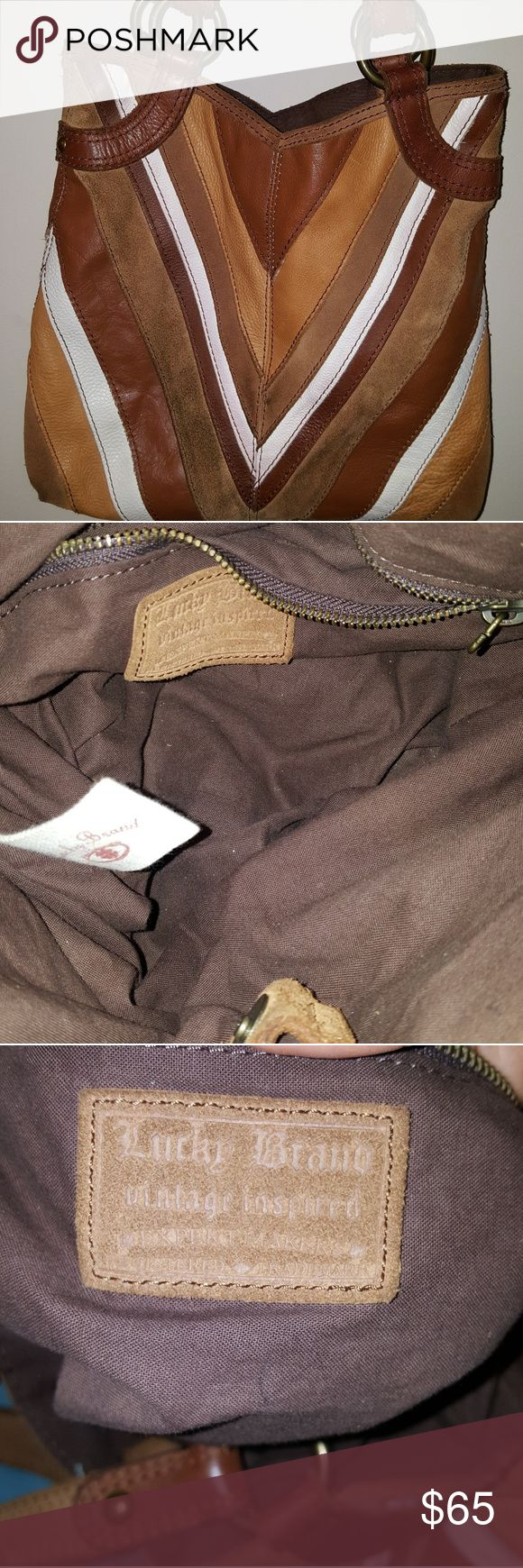 Lucky brand purse Brown , nude, and white leather suede lucky brand purse. Clean inside. Minimal signs of wear such as some discoloration on suede part of purse. Lucky Brand Bags Shoulder Bags