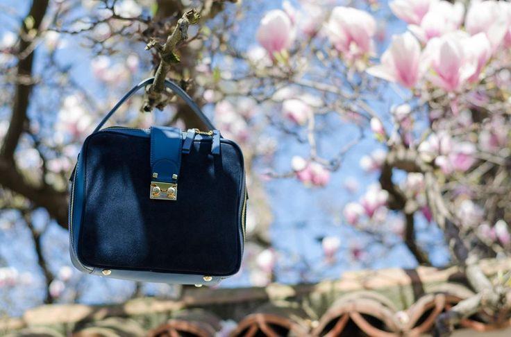Made in Italia medium suede bag  www.cristinafeather.com