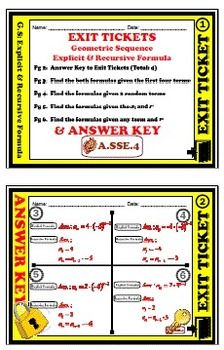 Exit Ticket - Geometric Sequence - Explicit & Recursive Formula