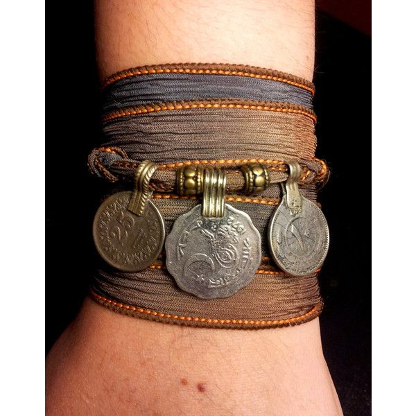 Storm Boho Silk Wrap Bracelet with Tribal Kuchi Coins, Belly Dance,... ($22) ❤ liked on Polyvore featuring jewelry, bracelets, coin bracelet, bohemian bracelet, gold coin jewelry, silk ribbon bracelet and gold bracelet