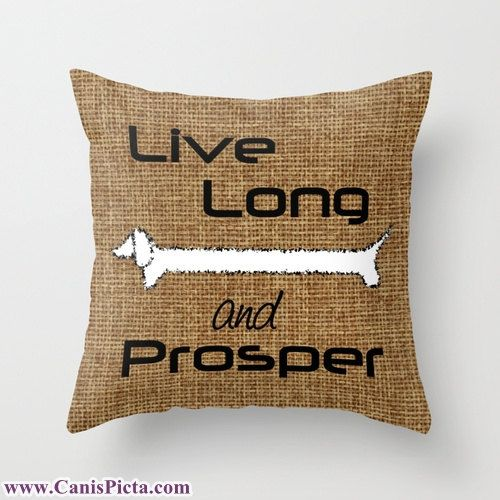 Star Trek Throw Pillow Dachshund Live Long and Prosper Pet Graphic Print 16x16 Cover Couch Art Rustic Burlap Dog Trekkie Spock Brown Geek