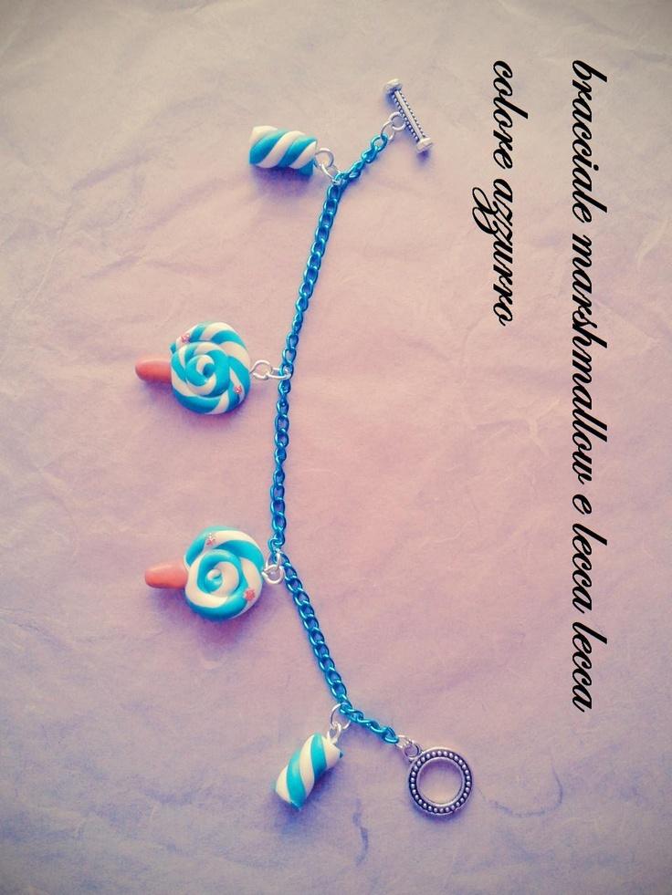 bracciale lecca lecca e marshmallow colore azzurro