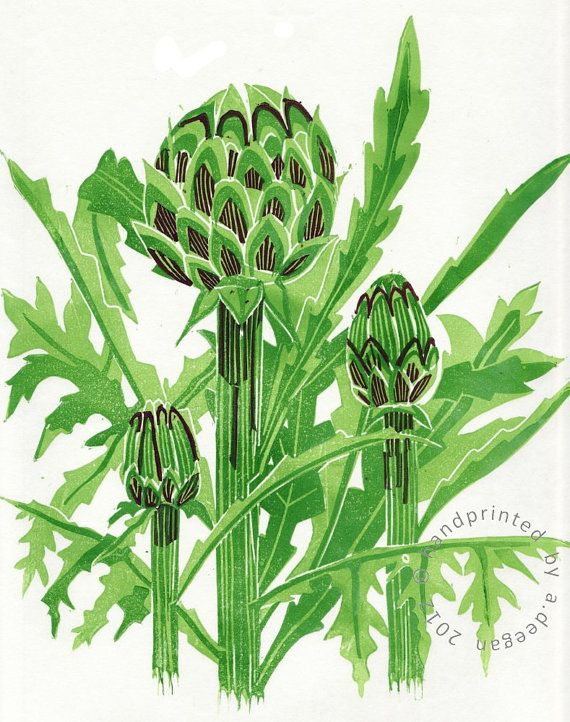 Artichoke Line Print by @Alyce Posey Posey Posey Posey Deegan on Etsy