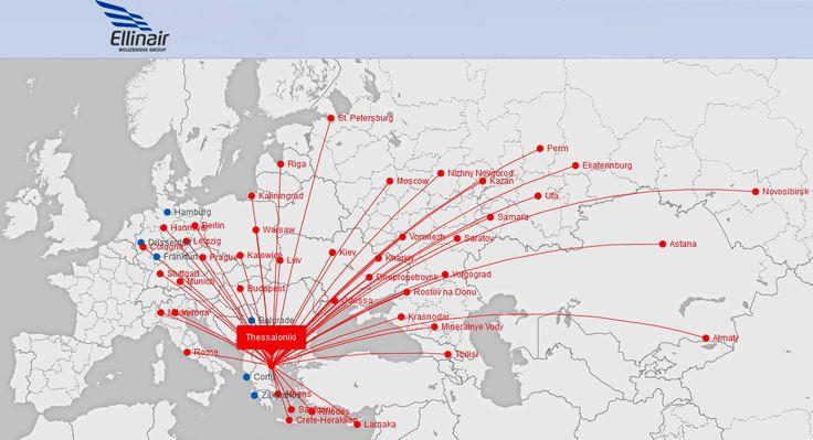Ellinair Route map