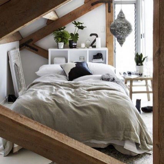 Bedroom in the attic. Inspiration board: Attic conversions now on the blog (link on Bio) / une chambre sous les toits. Carnet d'inspiration : Aménager ses combles maintenant sur le blog (lien dans Bio).