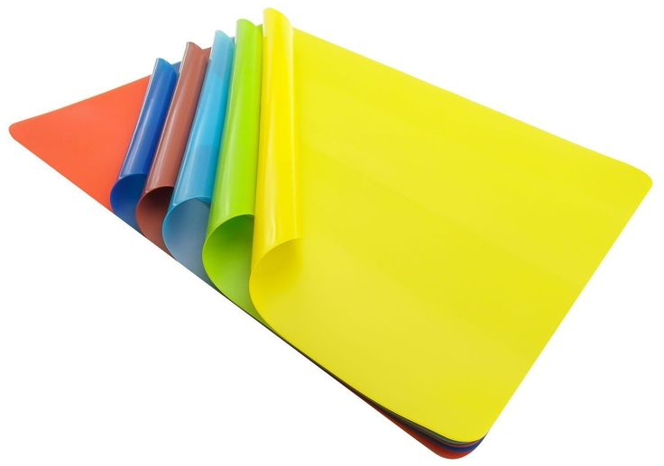 "Unique and Custom {11.81' x 15.74' Inch} Set Pack of 6 Rectangle ""Non-Slip Grip Texture"" Assorted Large Table Placemats Made of Flexible Silicone Rubber Design [Colorful Red, Blue, Green and Yellow] * Check this awesome image  : Food Service Equipment Supplies"
