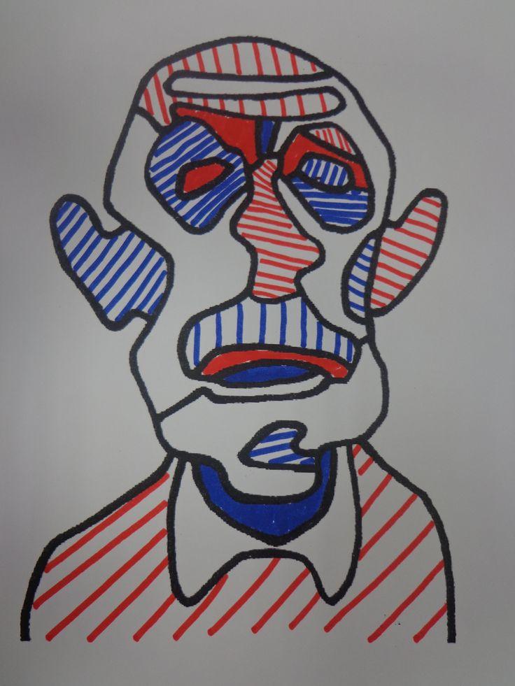 portrait de Jean Dubuffet graphisme mai 2014 CP CE1
