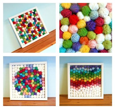 EASY: What to do with our yarn SCRAPS - Idea #1.  Make a bunch of little yarn balls and put in a frame. Endless decor, design, and color options with this DIY.