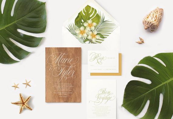 Hawaiian Koa Wood Wedding Invitations Tropical Plumeria Envelope Liners Destination Wedding
