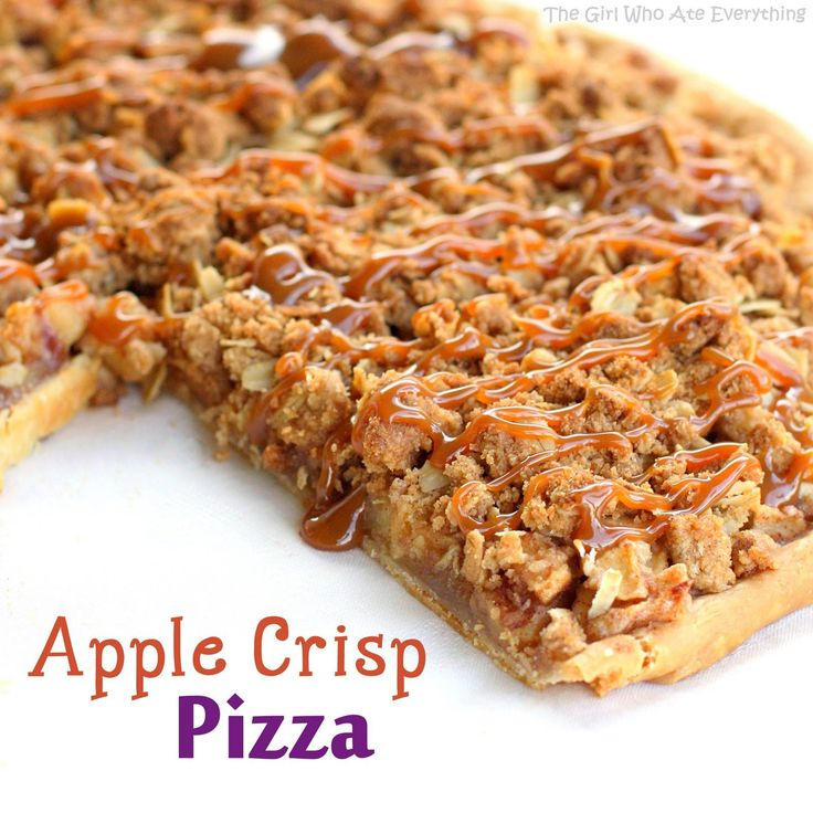 Warm Apple Crisp Pizza drizzled with caramel sauce and served with vanilla ice cream.
