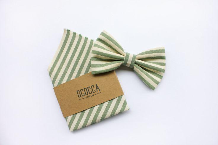 Papillon a righe per Uomo, verde a strisce,blu e senape, tessuto di cotone, Cravatta Papillon per matrimonio e regalo per testimoni di ScoccaPapillon su Etsy
