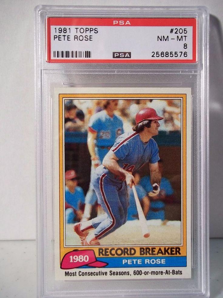 1981 Topps Pete Rose PSA NMMT 8 Baseball Card 205 MLB