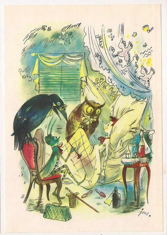Vintage Book  Pinocchio with Owl Illustration Page