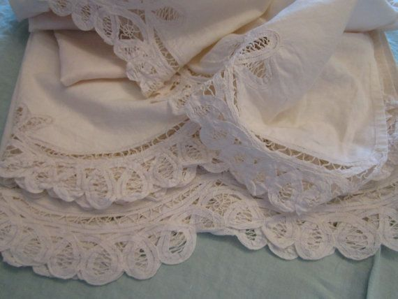 vintage lace bed skirts | Queen size white bed skirt in battenburg lace by chicknhawk