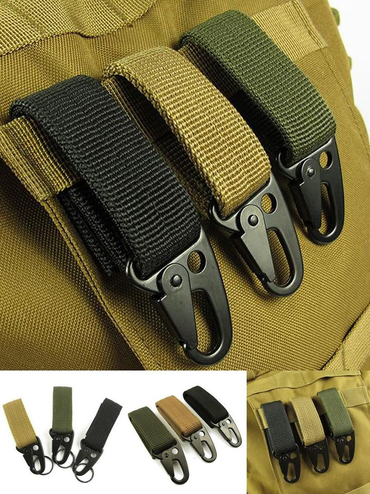[Visit to Buy] EDC tool outdoor camping D-carabiner key hook MOLLE webbing buckle hanging system Belt keychain(Nylon webbing + metal hook)FW006 #Advertisement