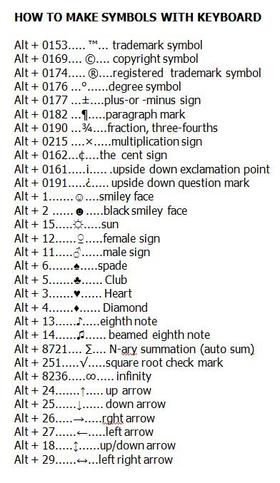 How To Make Symbols With Your Keyboard!  See http://www.pinterest.com/nlm89/keyboard-tipstricks/