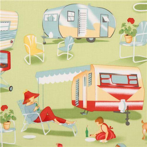 light green retro fabric camping trailer Michael Miller USA